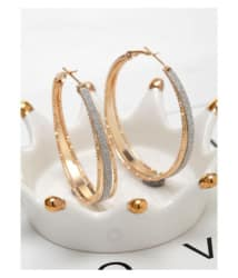 Popmode Gold Plated Silver Glitter Girls Fashion Partywear Hoop Earring