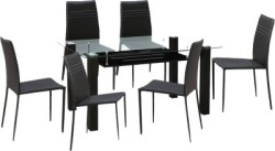HomeTown Presto Glass 6 Seater Dining Set Finish Color - Dark Brown