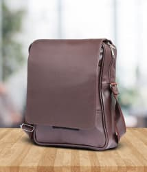 Tuscany Brown Premium P.U Leather Laptop Bag Office Bag Sling Bag For Men & Women/Side Bag Cross Bag Leather Bag Men Man Side Bag Gents Bag Men Side Bag One Side Bag Men Carry Bag Men