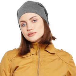 Vimal Dark Grey Cotton Beanie Cap For Women