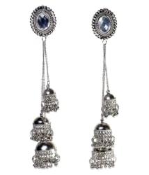 Prasi afghani kashmiri tribal oxidised alloy jhumki earring