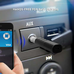 Clip-On 3 Button 3.5mm Bluetooth Audio Jack Receiver With Mic For Car Kit Compatible For Android & iOS