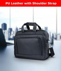 Tuscany Black Premium P.U. Leather Office Laptop Bag Sling Bag For Men & Women/Side Bags