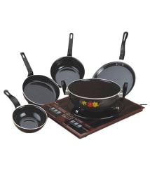 Puros Induction Base Aluminium Cookware(Black) - Set Of 5