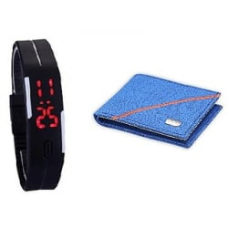 RK Combo Of Blue Wallet + Led Watch