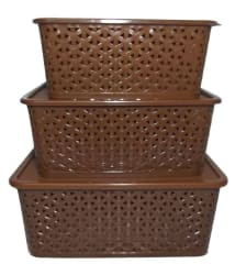 Premium Quality Multipurpose Storage Basket / Box With Lid - Brown (Set Of 3)