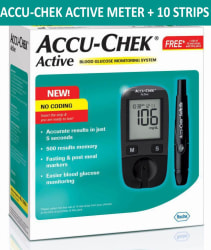 Accu Chek Active Glucose Monitor with Lifetime warranty + FREE 10 Sugar Test Strips Expiry Jan-2020