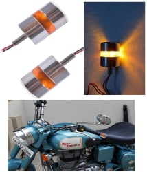 Universal Chrome Motorcycle Handlebar Bike LED Turn Signal Strobe Side Indicator light(Set of 2)