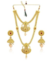 Sukkhi Alloy Golden Long Haram Traditional 18kt Gold Plated Necklaces Set