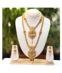 Swarajshop Alloy Golden Long Haram Traditional 14 kt Gold Plated Necklaces Set