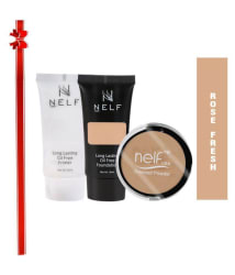 Nelf USA Face Combo- Primer, Foundation & Pressed Powder -(Pack of 3)