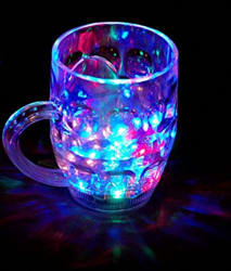 Niharika Amazing Light Changing Fibre Glass Beer Mug With Inductive Rainbow Color Disco Led 7 Colour Changing Liquid Activated Lights Multi Purpose Use Mug/Cup 295ML