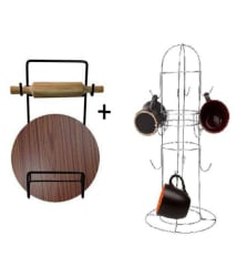 Star Dust Stainless Steel Combo Of Chakla, Belan & Chimta Holder With Cup & Saucer Holder (Pack Of 2) Kitchen Rack/Kitchen Organiser/ Kitchen Stand (Cup Holder + Chakal Belan Holder)