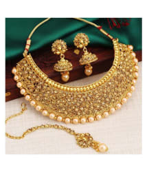 Sukkhi Alloy Golden Choker Traditional 18kt Gold Plated Necklaces Set