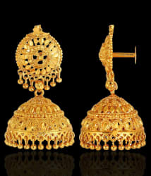 GoldNera Traditional Golden Glittering Design Jhumki