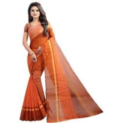 Pari Designerr Chanderi Cotton Striped Saree With Blouse
