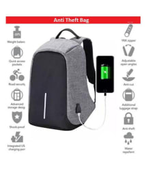 Anti Theft Grey Backpack Waterproof College Backpack College Bag Laptop Bag, Anti Theft Bag Backpack Gents Bag Carry Bag Men