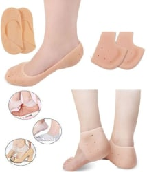 Silicone Heel Protector Breathable Sleeve Socks Half & Full Size Combo