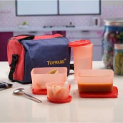 Topware Multi Color Plastic Lunch Box Set With Insulated Bag