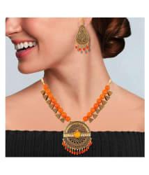 Asmitta Jewellery Zinc Orange Princess Designer Gold Plated Necklaces Set