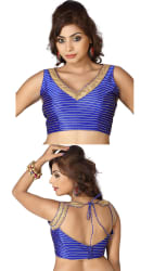 Aaina Blue Striped Bhagalpuri Silk Unstitched Blouse