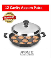WALTER Aluminum Non - Stick 12 Cavity Appam Cookware Patra Side Handle with Lid Fry Pan 23 cm ml