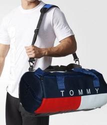 Tommy Hilfiger Medium P.U Leather Gym Bag Men Gyms Bags Shoulder Bag Travel Bag For Men & Women Low Price Men Side Bag Cross Bag Leather Bag