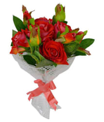 The Fancy Mart rose 5 bouquet Multicolour Artificial Flower Bunch Plastic