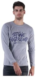 DFH Men Slim Fit Round Neck Printed T-Shirt - Grey