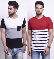 STYLESMYTH Men Regular fit Round neck Colorblocked T-Shirt - Multi