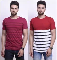 STYLESMYTH Men Regular Fit Round Neck Printed T-Shirt - Maroon
