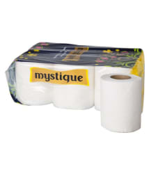 Mystique 2 Ply Toilet Tissue Paper Roll - 6 Rolls( Usable sheets are 246x6=1476)
