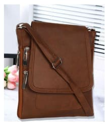 R&r Associates Brown P.U. Sling Bag