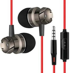 PTron HBE6 Wired Headset with Mic(Red & Black, In the Ear)