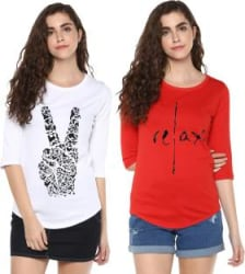 Young Trendz Graphic Print Women Round Neck Multicolor T-Shirt(Pack of 2)