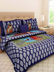 Jaipuri Cotton Double Multicolor Bedsheet with two pillow covers