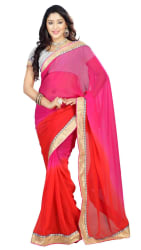 Florence Pink Georgette Embriodered Saree
