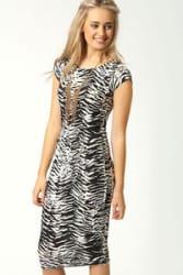 Boldgal Club Print Midi Party Women One-Piece Western Slim Dress