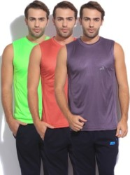 Vector X Solid Men Round Neck Green, Red, Purple T-Shirt(Pack of 3)