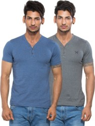 Maniac Solid Men Henley Multicolor T-Shirt Pack of 2