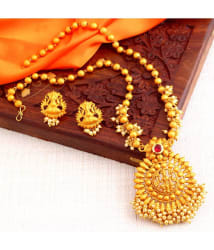 Sukkhi Alloy Golden Traditional 18kt Gold Plated Necklaces Set