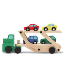 Webby Carrier Truck and Cars Wooden Toy Set with 1 Truck and 4 Cars, Assorted Color