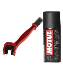 Grand Pitstop Motul C1 Chain Clean with Bike Cleaning Brush, 150 ml, Red