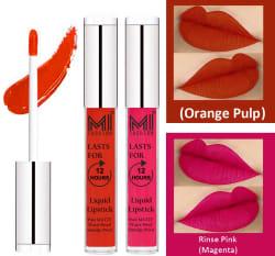 MI FASHION Liquid Lipstick Orange Pulp,Magenta 3 ml Pack of 2