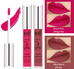 MI FASHION Liquid Lipstick Magenta,Nude 3 ml Pack of 2
