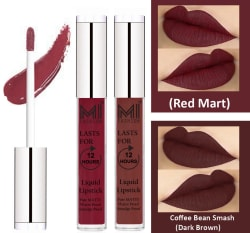 MI FASHION Liquid Lipstick Red Mart,Dark Brown 3 ml Pack of 2