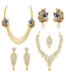 Sukkhi Ritzy 4 String Peacock Gold Plated AD Necklace Set Combo For Women Pack Of 2 + Free Pair of Earrings of Worth INR.199/-