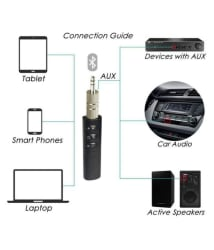 3.5mm Bluetooth Audio Jack Receiver With Mic For Car Kit Compatible For Android & iOS