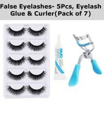 False Eyelashes-Set of 5 with Eyelash Glue & Eyelash Curler Free (Pack of 7)