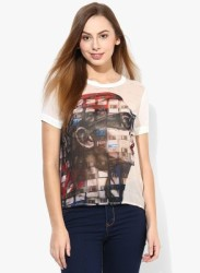 Vero Moda Casual Short Sleeve Graphic Print Women White Top